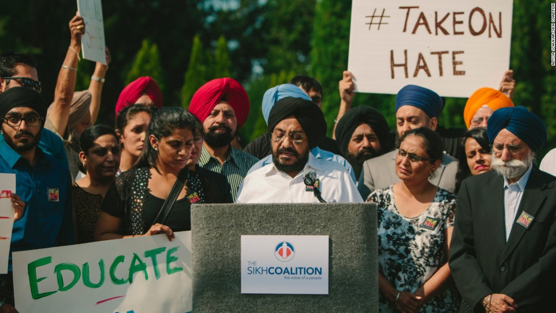 "The Sikh Coalition sponsored a rally in Darien, Illinois, where Inderjit Singh Mukker was beaten unconscious by a teenager who yelled: ""Terrorist, go back to your country"" and ""Bin Laden!"""