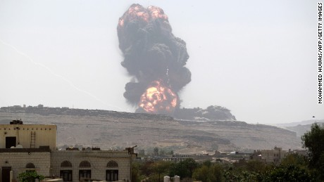 An airstrike by the Saudi-led coalition on an arms depot in May 2015, east of Sanaa.