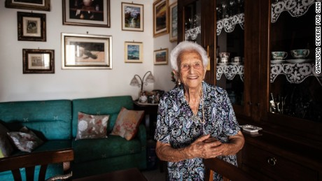 "Mother-of-eight Luigina Vigiconte, 101, says you must ""always be optimistic, never bitter, and always be polite with people."""