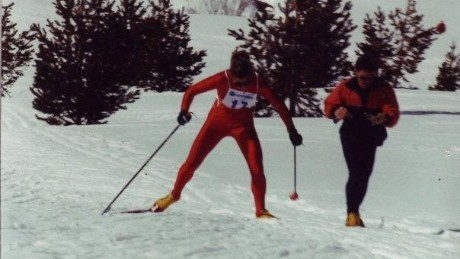 Janine Shepherd cross-country skiing.