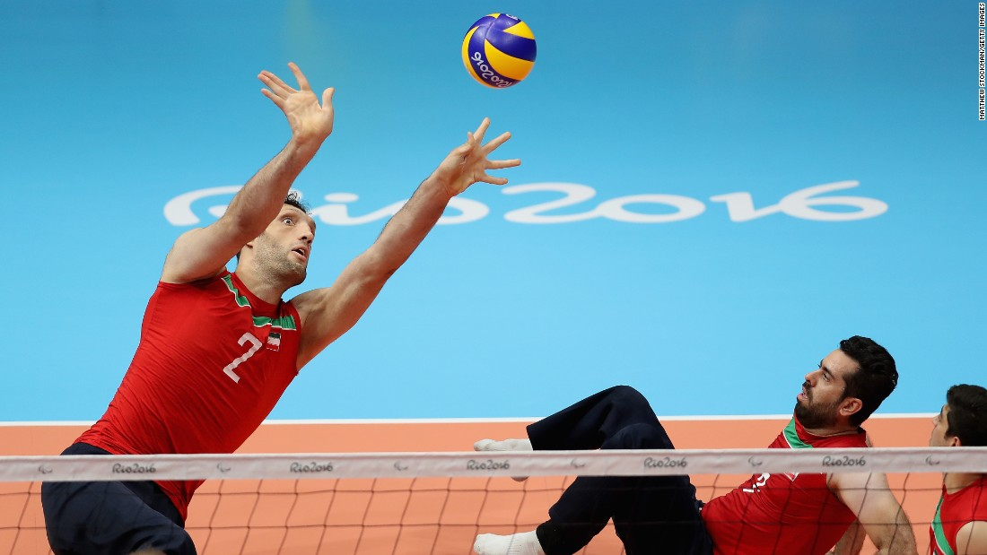 But on the sitting volleyball court, Mehrzad's height gives him a distinct advantage.
