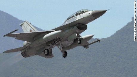 An F-16 jet takes off from Taiwan's eastern Hualien Air Base in 2004.