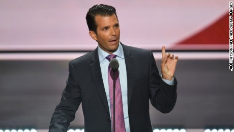 Donald Trump, Jr., son of Donald Trump, speaks on the second day of the Republican National Convention at the Quicken Loans Arena in Cleveland on July 19, 2016.