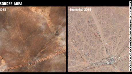 Aerial images illustrate the growth of the camp on Syria-Jordan border since December.