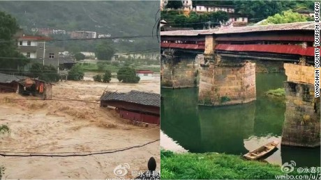 The 800-year-old Dongguan Bridge was destroyed by Typhoon Meranti, says the local Yongchun County Tourism Bureau in East China's Fujian province.