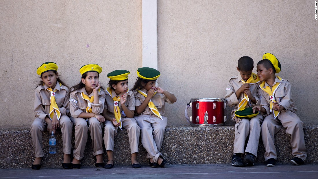 Children prepare for an Eid al-Adha festival in Jaffa, Israel, on Monday, September 12.