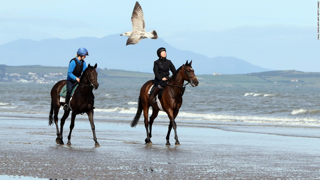 Two horses are exercised on Laytown beach ahead of the Laytown Strand horse races -- the only ones in the Irish and English calendars to be run on a beach under the Rules of Racing -- on September 13.