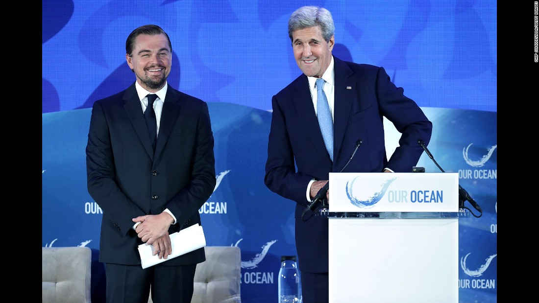 "Secretary of State John Kerry introduces actor and environmental activist Leonardo DiCaprio during the <a href=""http://ourocean2016.org/#event"" target=""_blank"">Our Ocean Conference</a> in Washington on Thursday, September 15. DiCaprio announced the launch of <a href=""http://globalfishingwatch.org/"" target=""_blank"">Global Fishing Watch</a>, a technology that aims to offer a crowdsourcing solution to tracking illegal fishing around the world."