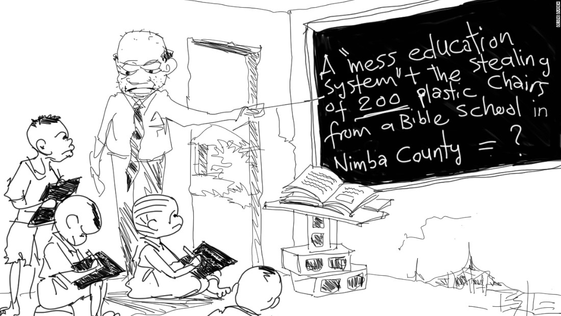 "Lumeh has been a cartoonist at the Daily Observer for the past 10 years. ""The arts, the creative sector, is very paramount to the growth of the economy and to solve other issues ..."" he says."