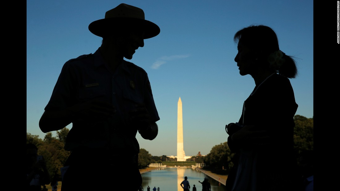 "National Park Service ranger Heath Mitchell, left, guides Aung San Suu Kyi, Myanmar's de facto leader, during a visit to the Lincoln Memorial in Washington on Wednesday, September 14. President Barack Obama met with Suu Kyi on her visit to Washington, and said the US is <a href=""http://www.cnn.com/2016/09/13/politics/aung-san-suu-kyi-myanmar-sanctions-white-house/"" target=""_blank"">prepared to lift sanctions on Myanmar</a>."