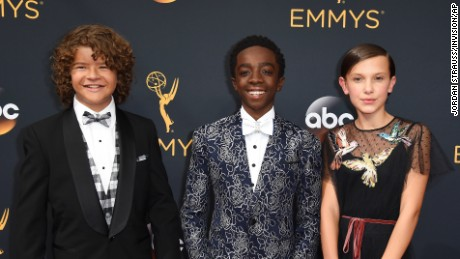 Gaten Matarazzo, Caleb McLaughlin and Millie Bobby Brown attended the Emmy awards show Sunday.