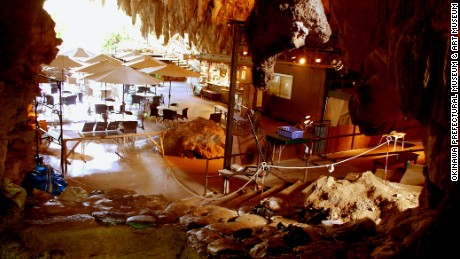 The Sakitari cave excavation site also leads onto a public cafe.