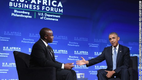President Barack Obama with Takunda Ralph Michael Chingonzo of Zimbabwe during the inaugural U.S.-Africa Business Forum, in 2014.