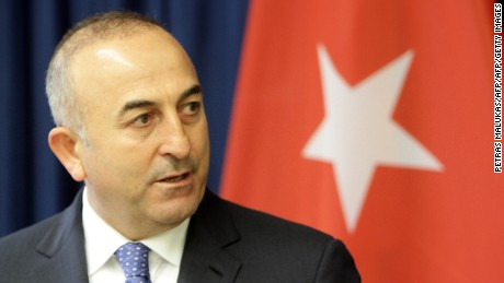 "Turkish Foreign Minister Mevlut Cavusoglu gives a press conference with his Lithuanian counterpart (not in picture) in Vilnius on April 3, 2015. Cavusoglu said Turkey will send and ""informal mission"" to Crimea to monitor what it termed the ""oppression"" of Crimean Tatars, an ethnic group that opposed Russia's 2014 seizure of the Black Sea peninsula.      AFP PHOTO / PETRAS MALUKAS        (Photo credit should read PETRAS MALUKAS/AFP/Getty Images)"