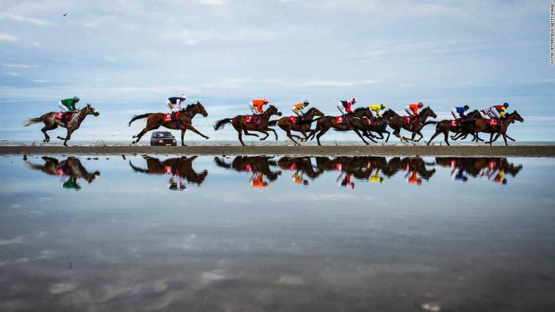 Horses race in Laytown, Ireland, on Tuesday, September 13.