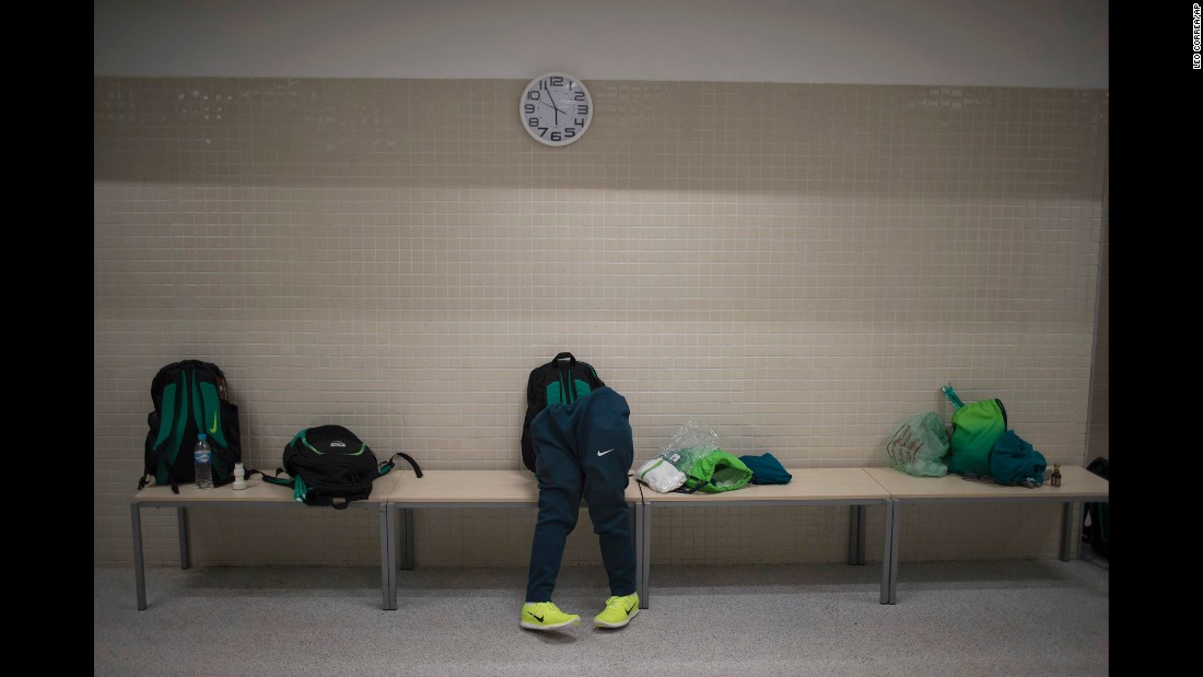 The prosthetic legs of Brazilian rugby player Julio Braz lean on a locker-room bench before a Paralympic game in Rio de Janeiro on Thursday, September 15.