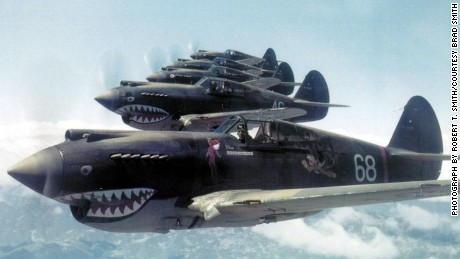 Flying Tiger pilot Robert T. Smith snapped this photo of his squadron in flight over China on May 28, 1942.