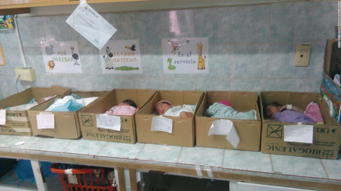 "CNN obtained this photo showing a newborn babies inside cardboard boxes at Domingo Guzmán Lander Hospital in Barcelona, Venezuela. The Venezuelan opposition party Mesa de la Unidad Democratica (MUD), said the photos were snapped by a hospital employee who did not want to be identified. The Social Security Director Carlos Rotondaro responded on Twitter, saying an investigation is being launched and that ""in no way will these actions, taken without consultation by a professional of the hospital, be justified.""<br />"