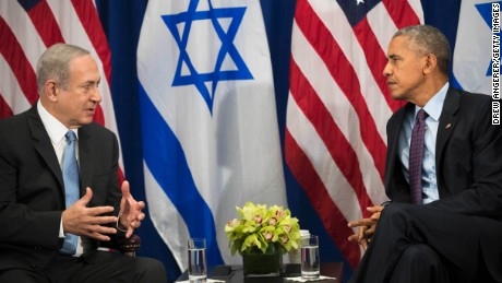 Prime Minister of Israel Benjamin Netanyahu speaks to U.S. President Barack Obama during a bilateral meeting  September 21, 2016 in New York City.