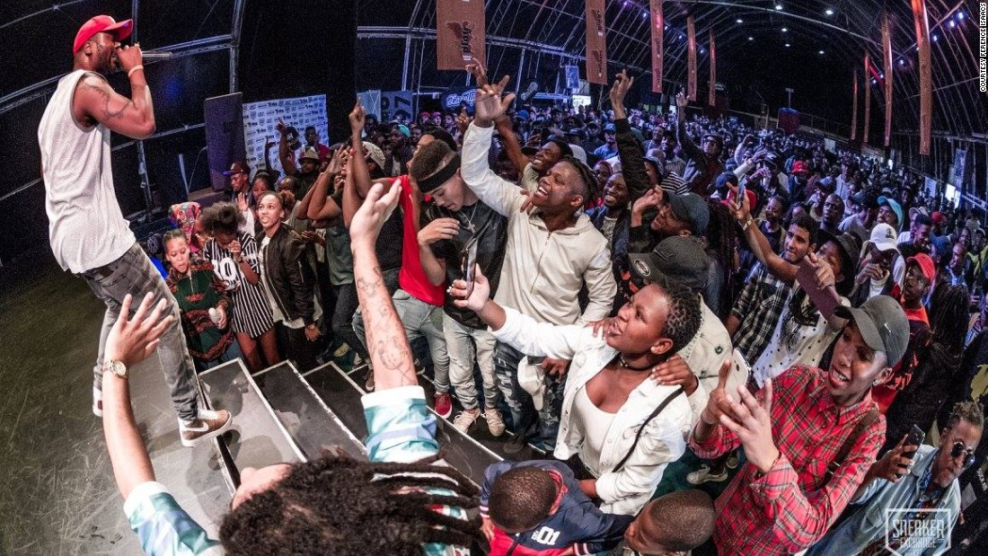 Johannesburg-based hip hop artist Reason, whose real name is Sizwe Moeketsi, performs to an excited crowd at the Sneaker Exchange Cape Town.