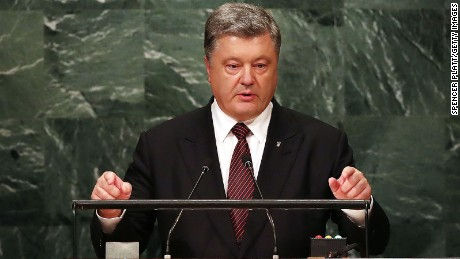Ukrainian President Petro Poroshenko addresses the General Assembly at the United Nations on September 21, 2016 in New York City.