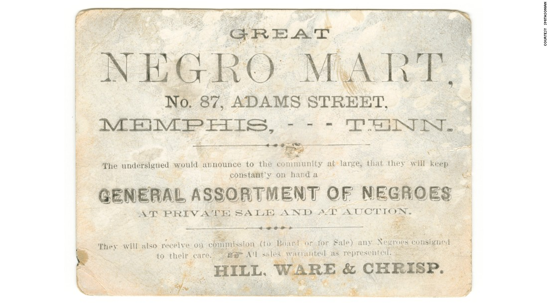 This advertisement card promoted a slave sale in Memphis, Tennessee, circa 1859-1860.