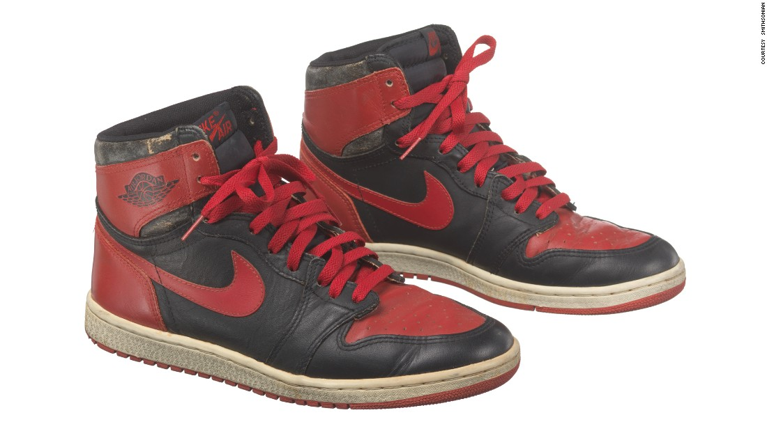 Basketball star Michael Jordan made his Nike Air Jordan shoes a hot commodity. This pair of size 13 red and black Air Jordan I high top sneakers is from 1985, a year after he starting playing for the Chicago Bulls.