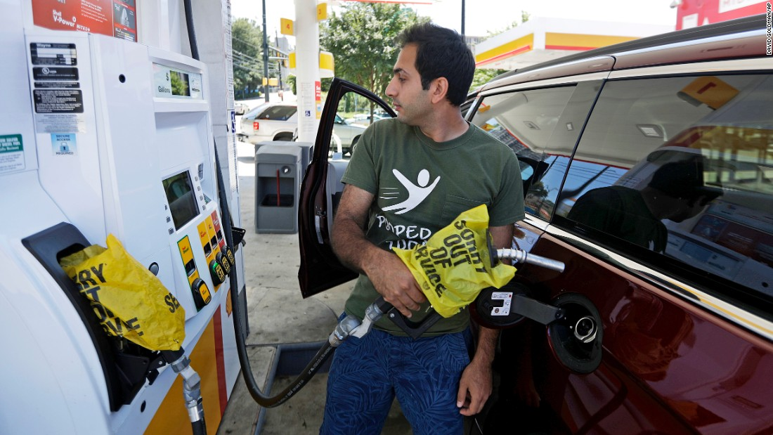 "A motorist tries to pump gas in Atlanta on Monday, September 19. A section of a major pipeline <a href=""http://money.cnn.com/2016/09/16/investing/gasoline-prices-shortage-pipeline-leak/"" target=""_blank"">was closed down</a> September 9 because of a leak. The disruption drove up prices and left some East Coast gas stations without fuel to sell."