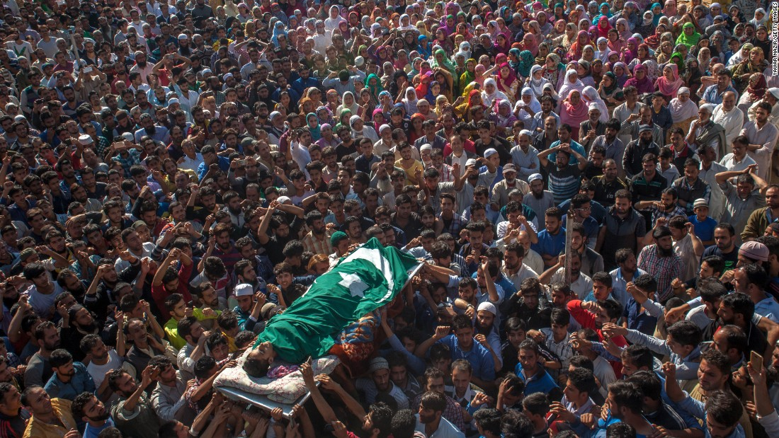 "Kashmiri Muslims carry the body of Nasir Shafi, an 11-year-old <a href=""http://www.cnn.com/2016/09/18/asia/india-kashmir-attack/"" target=""_blank"">who was found dead</a> on the outskirts of Srinagar, India, on Friday, September 16. Residents of Srinagar told CNN that Shafi's body was riddled with pellet gun wounds, which Indian police and security forces have been using to disperse protesters in Indian-adminstered Kashmir. Police said the boy was hit with pellets during clashes between the two groups."