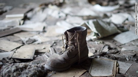 A coal miner's boot remains inside the St. Nicholas Coal Breaker in Manahoy City, PA., once the world's largest and last operational in 1972.