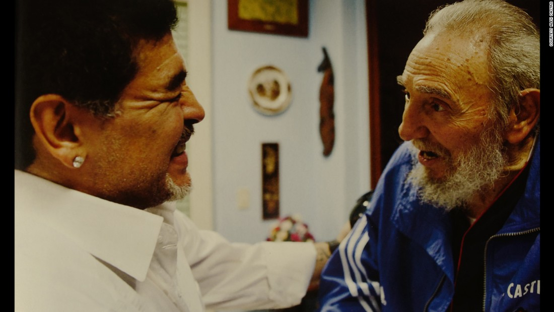 "Argentine football legend Diego Maradona visits Fidel Castro at his home in Havana. Maradona has frequently gone to Cuba, reportedly to receive treatment for addiction to drugs. Alex Castro says Maradona is ""grateful to Fidel and Cuba"" for helping him ""with his health."""