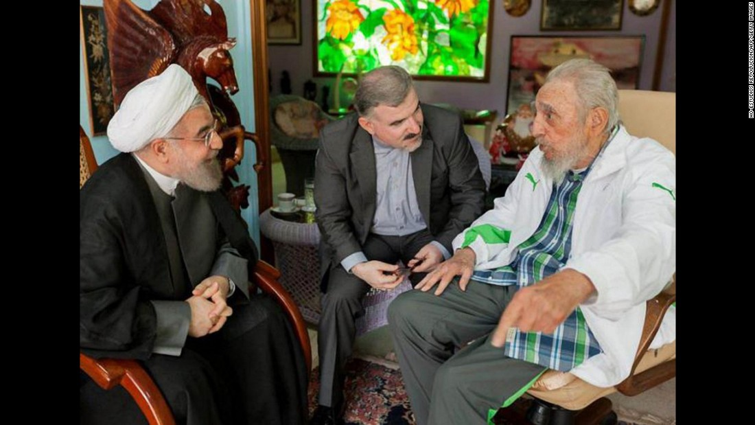 Fidel Castro meets with Iranian President Hassan Rouhani at his home in Havana in September.