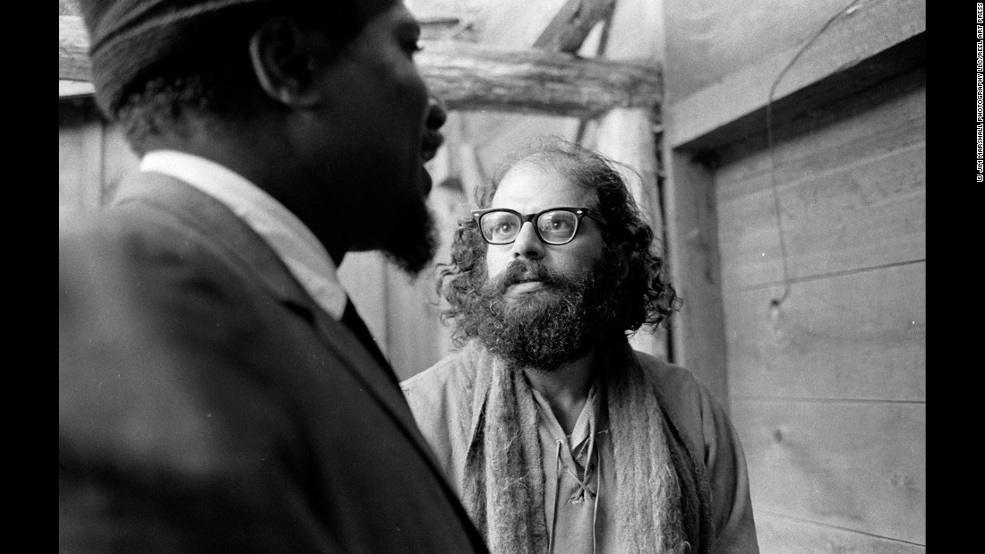 Monk and poet Allen Ginsberg at Monterey in 1963.