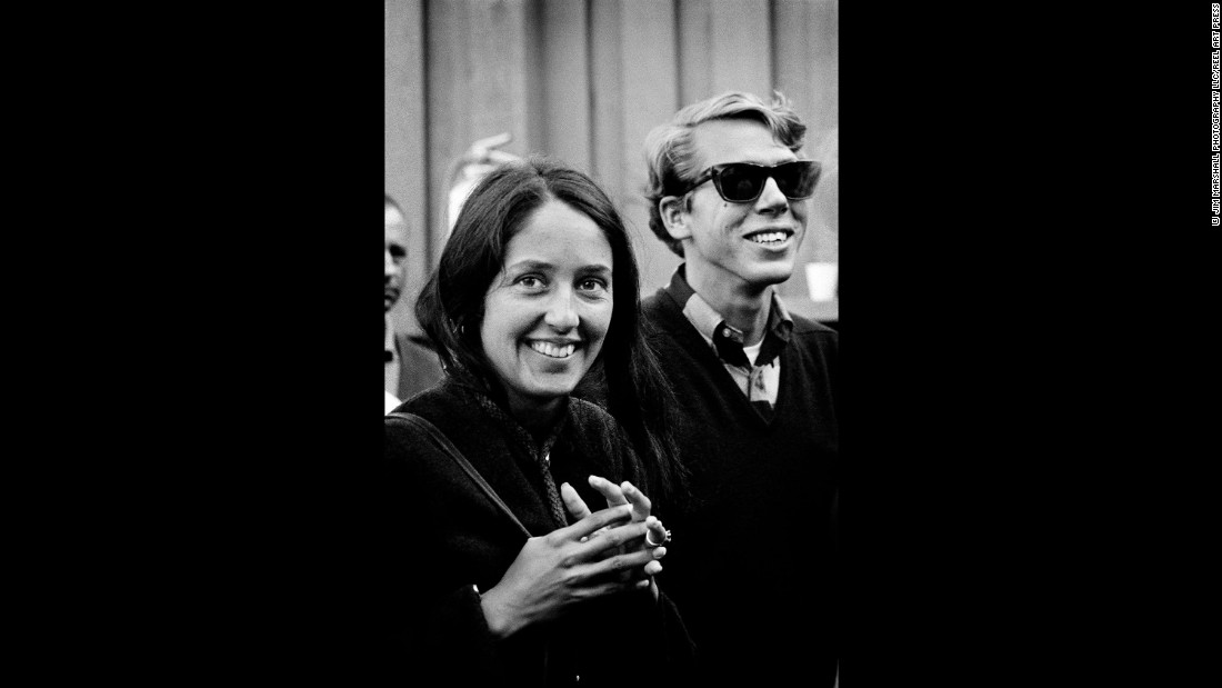 Singer Joan Baez at Monterey in 1965.