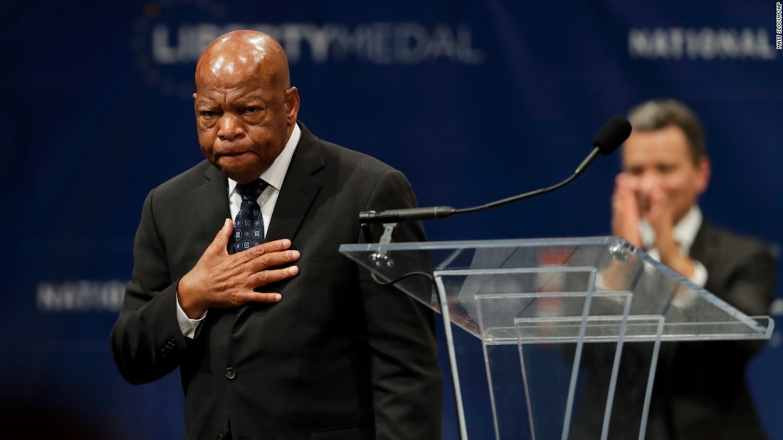 US Rep. John Lewis, an iconic civil rights leader, reacts Monday, September 19, after being presented with the Liberty Medal at the National Constitution Center in Philadelphia. The medal is given annually to an individual who displays courage and conviction while striving to secure liberty for people worldwide.