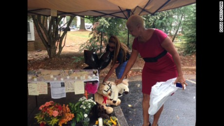 The place where Keith Lamont Scott was fatally shot has become a memorial.