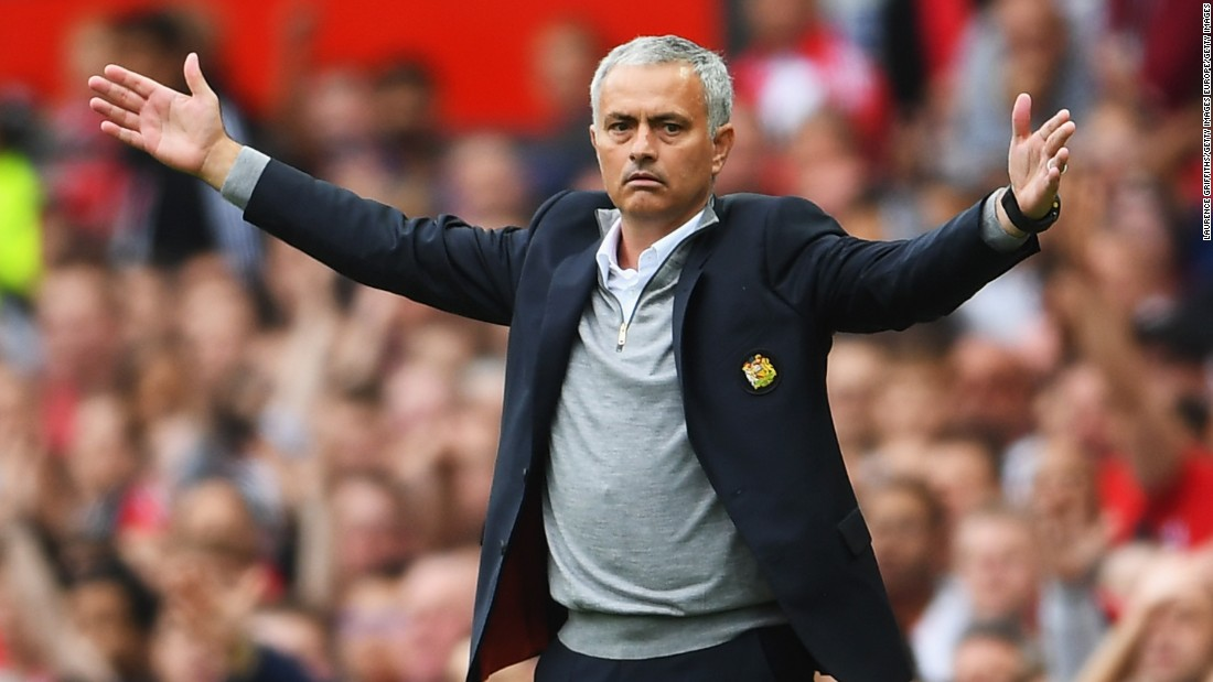 Jose Mourinho, manager of Manchester United reacts during the Premier League match against Leicester City at Old Trafford. Mourinho benched star striker Wayne Rooney before the match, which his team won 4-1.