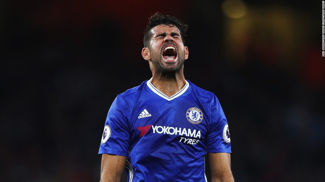 Diego Costa of Chelsea shows his frustration during the Premier League match between Arsenal and Chelsea at the Emirates Stadium. Chelsea, who lost 3-0, did not have a shot on target until the end of the match.
