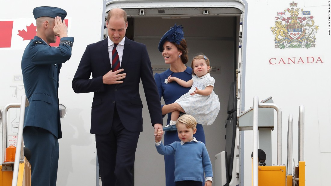 The royal couple and their two children arrive at the Victoria airport on September 24.