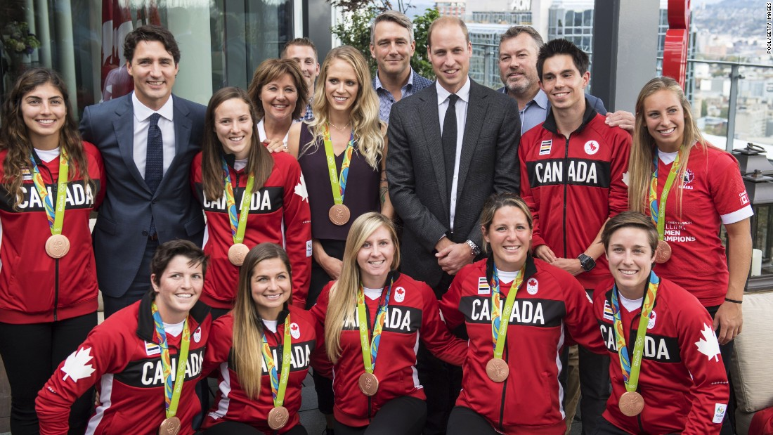Trudeau and Prince William meet the Canadian Olympic team during the Telus Gardens reception on September 25.
