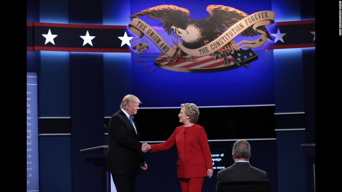 Trump and Clinton shake hands before the start of the debate.