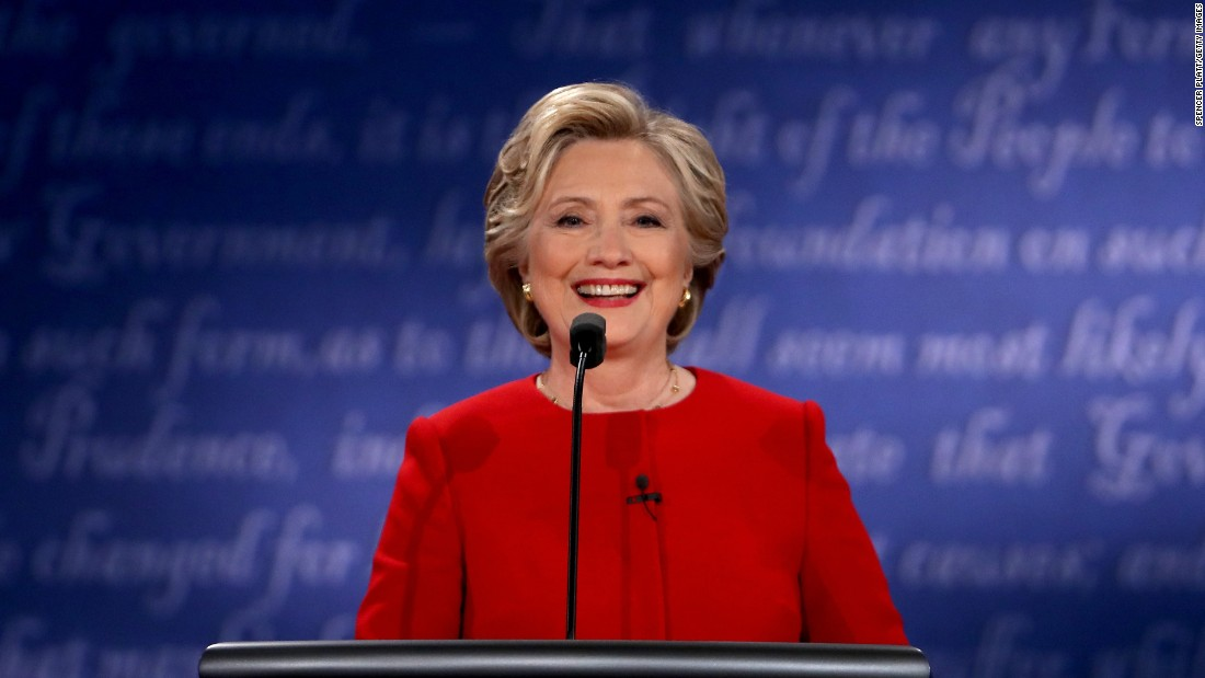 Clinton smiles during the debate.