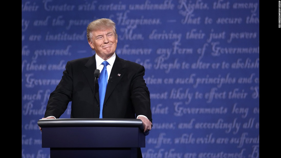 Trump smiles during the debate.