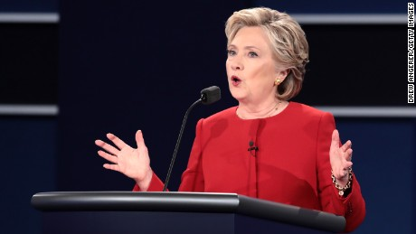 HEMPSTEAD, NY - SEPTEMBER 26:  Democratic presidential nominee Hillary Clinton speaks during the Presidential Debate at Hofstra University on September 26, 2016 in Hempstead, New York.  The first of four debates for the 2016 Election, three Presidential and one Vice Presidential, is moderated by NBC's Lester Holt.  (Photo by Drew Angerer/Getty Images)