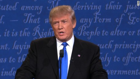 Donald Trump speaking at the 1st Presidential Debate at Hofstra University, New York on September 26, 2016
