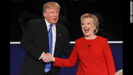 Republican presidential nominee Donald Trump and Democratic presidential nominee Hillary Clinton shake hands after the presidential debate at Hofstra University in Hempstead, N.Y., Monday, Sept. 26, 2016. (AP Photo/David Goldman)