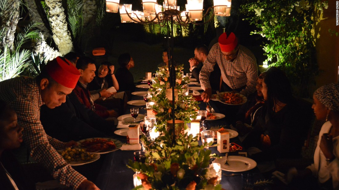 Taste is one of the best senses to engage when exploring another country. In Morocco this is especially true. Skip the obvious restaurants and find yourself at a pop-up dinner in a local Riad for an immersive experience. Pictured here: a pop-up dinner experience from the Tastemakers mobile app held at a Senegalese owned private villa and gallery in La Palmerie.