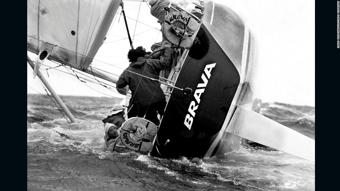 """I like this because it was my first very famous picture, it's very important to me. From 1980, it is of course Brava broaching. Lots of action on board, but at the same time, Pasquale Landolfi just looking back at the camera."""
