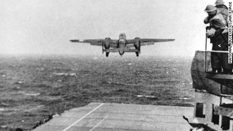 Taken from the deck of the USS Hornet of a B-25 bomber on its way to take part in the first US air raid on Japan.