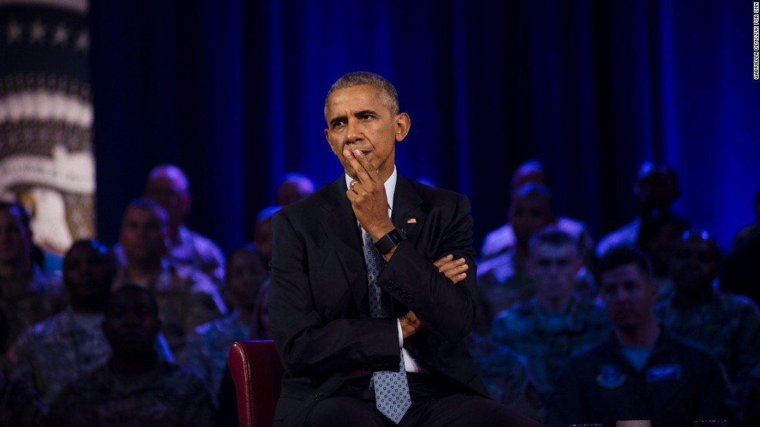 Obama listens to a member of the audience. Fort Lee is home to the U.S. Army's Combined Arms Support Command.
